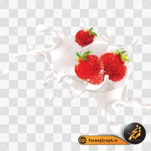 تصویر png شیر و توت فرنگی