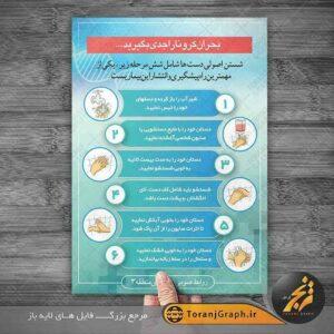 طرح پوستر شستن اصولی دست ها برای پیشگیری از کرونا