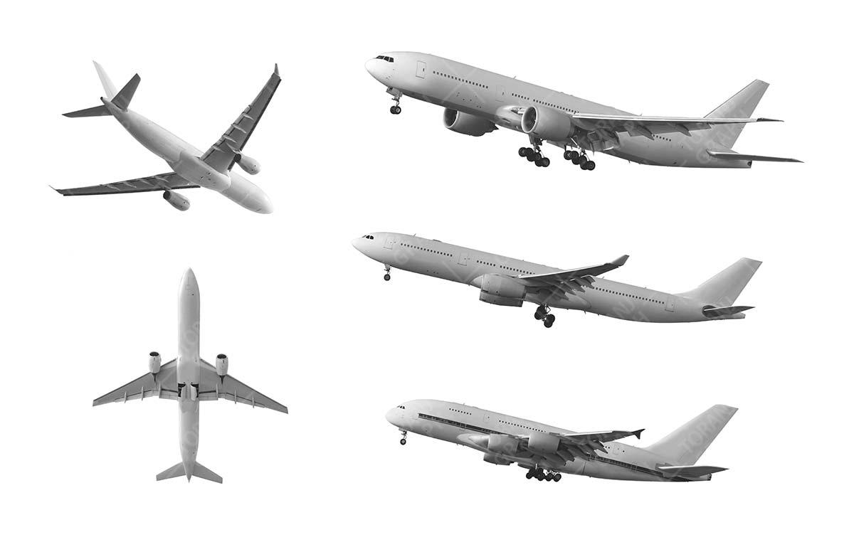 عکس با کیفیت هواپیما در زمینه سفید